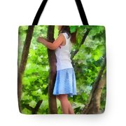 Little Girl Playing In Tree Tote Bag