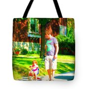 Little Girls First Bike Lesson With Dad Beautiful Tree Lined Street Summer Scene Carole Spandau  Tote Bag