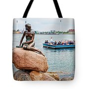 Little Mermaid Statue With Tourboat Tote Bag