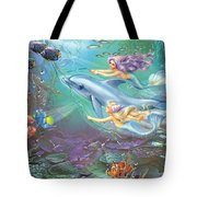 Little Mermaids And Dolphin Tote Bag