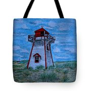 Little Red And White Lighthouse Tote Bag