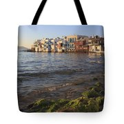 Little Venice At Sunset Mykonos Town Cyclades Greece  Tote Bag
