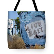 Live Bait Sign And Muffler Man Statue Tote Bag