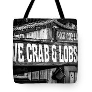 Live Crab And Lobster Sign On Dory Fish Market Tote Bag