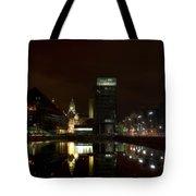 Liverpool Docks At Night Tote Bag