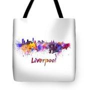 Liverpool Skyline In Watercolor Tote Bag