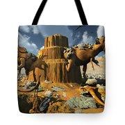 Living Fossils In A Desert Landscape Tote Bag