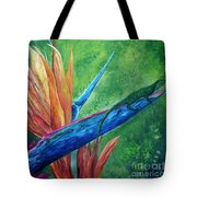 Lizard On Bird Of Paradise Tote Bag