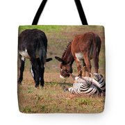 Lmao  Mules And Zebra - Featured In Wildlife Group Tote Bag