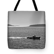 Lobster Boat And Islands Off Acadia National Park In Maine Tote Bag