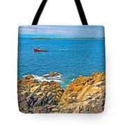 Lobster Boat Checking Traps In Louisbourg Bay-ns Tote Bag