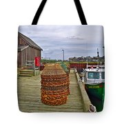 Lobster Fishing Baskets And Boats By A Dock In Forillon Np-qc Tote Bag