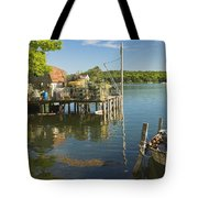 Lobster Traps On Pier In Round Pound On The Coast Of Maine Tote Bag