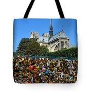 Locks Galore On The Pont De L'archeveche In Paris Tote Bag