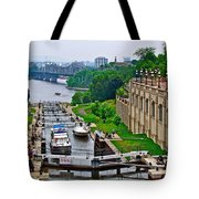 Locks On Rideau Canal East Of Parliament Building In Ottawa-on Tote Bag