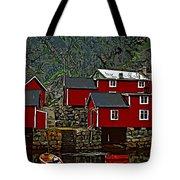 Lofoten Fishing Huts 2 Tote Bag by Steve Harrington