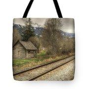 Log Cabin And Railroad Tracks Tote Bag
