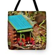 Log Cabin Birdhouse In Fall Tote Bag