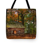Log Cabin In Autumn Color Tote Bag