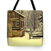 Log Cabin In The Snow Tote Bag