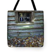 Log Cabin Window And Fall Leaves Tote Bag