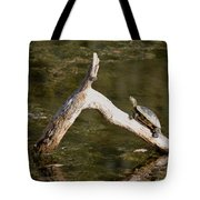 Log Climbing Turtle Tote Bag