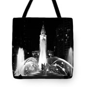 Logan Square Fountain At Night In Black And White Tote Bag
