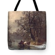 Loggers On A Frozen Waterway Tote Bag