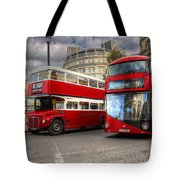 London Double Decker Buses Tote Bag