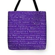 London In Words Purple Tote Bag