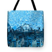 London Skyline Abstract Blue Tote Bag