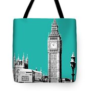 London Skyline Big Ben - Teal Tote Bag