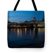 London Skyline Reflecting In The Thames River At Night Tote Bag