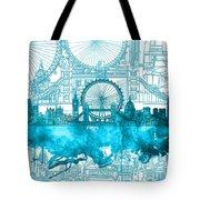 London Skyline Vintage Blue 2 Tote Bag