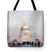London St Pauls In The Fog Tote Bag by Pixel  Chimp