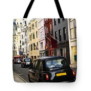 London Taxi On Shopping Street Tote Bag