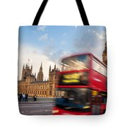 London The Uk Red Bus In Motion And Big Ben Tote Bag