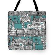 London Toile Blue Tote Bag