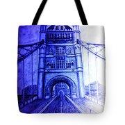 London Tower Bridge Tinted Blue Tote Bag