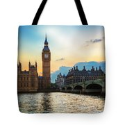 London Uk Big Ben The Palace Of Westminster At Sunset Tote Bag
