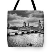 London Uk Big Ben The Palace Of Westminster In Black And White Tote Bag