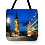 London Uk Red Bus In Motion And Big Ben At Night Tote Bag
