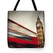 London Uk Red Bus In Motion And Big Ben Tote Bag