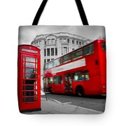 London Uk Red Phone Booth And Red Bus In Motion Tote Bag