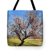 Lone Almond Tree In Bloom Tote Bag