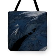 Lone Alpinist Silhouetted On Heavily Tote Bag