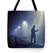 Lone Gunman In Fog At Night Tote Bag