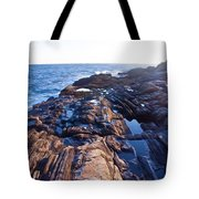 Lone Person On Rocks At Pemaquid Point Tote Bag