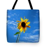 Lone Sunflower In A Summer Blue Sky Tote Bag
