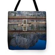 Lone Tourist And  Yosemite Falls Reflection Tote Bag
